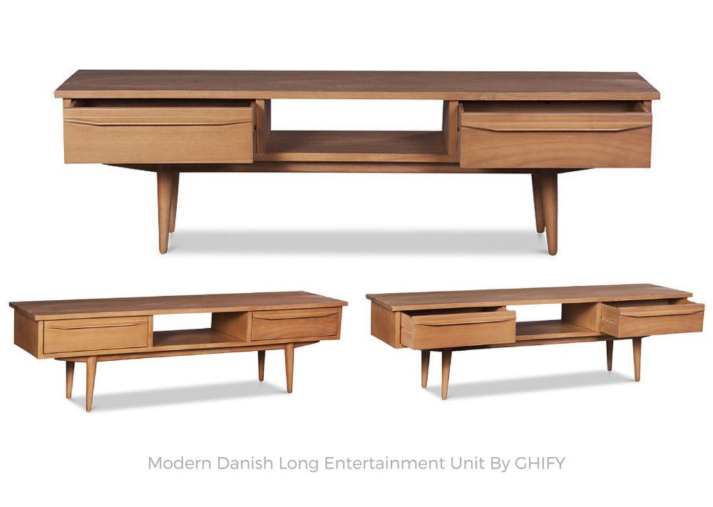Modern Danish Long Entertainment Unit by Ghify
