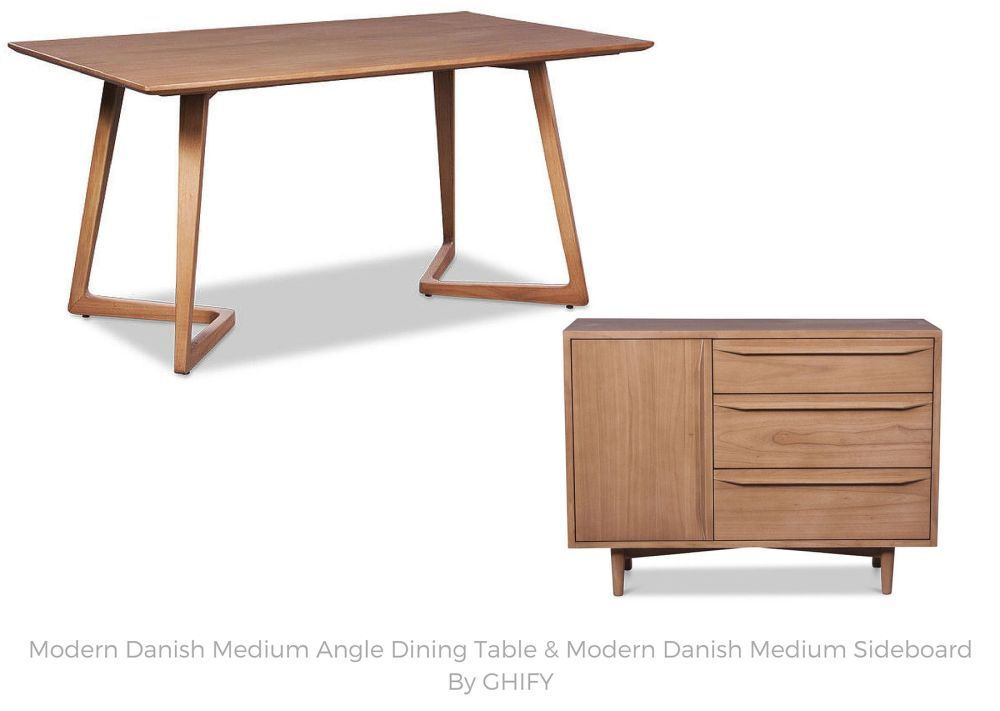 Modern Danish Medium Angle Dining Table and Modern Danish Medium Sideboard by Ghify