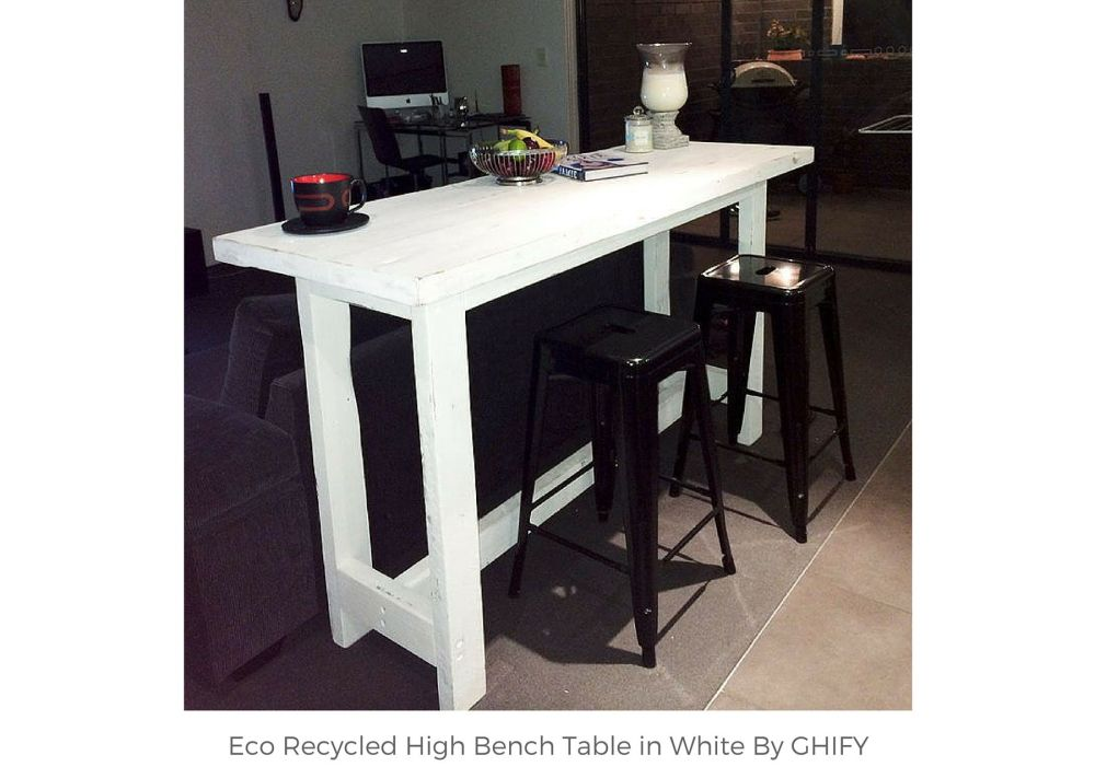 Eco Recycled High Bench Table in White by Ghify