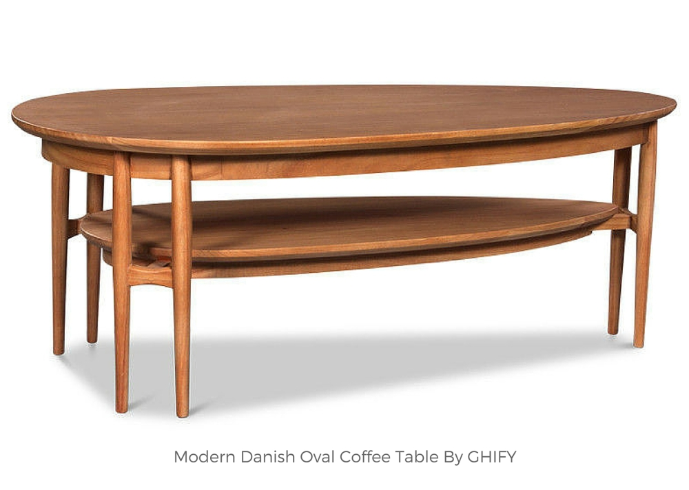 Modern Danish Oval Coffee Table by Ghify