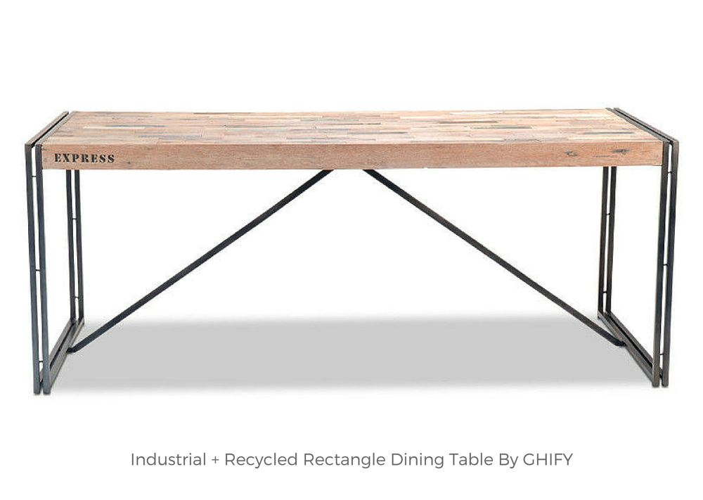 Industrial + Recycled Rectangle Dining Table by Ghify