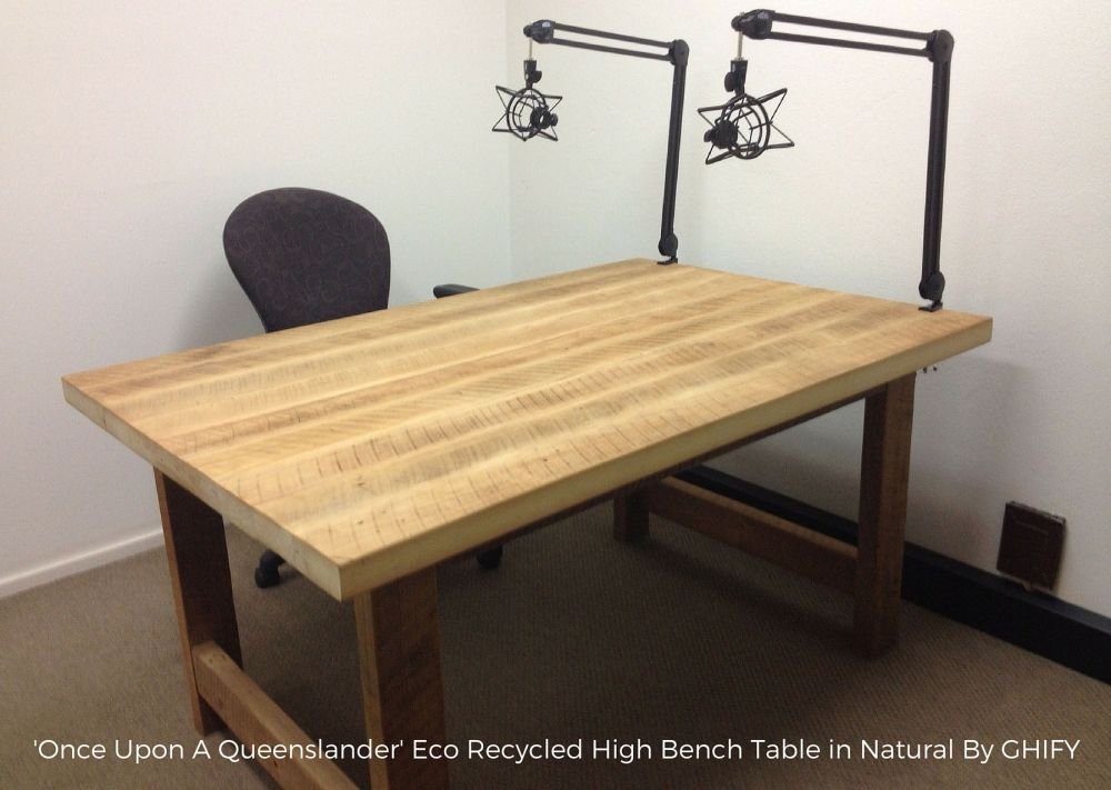 'Once Upon A Queenslander' Eco Recycled High Bench Table in Natural by Ghify