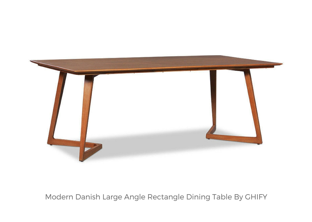 Modern Danish Large Angle Rectangle Dining Table by Ghify
