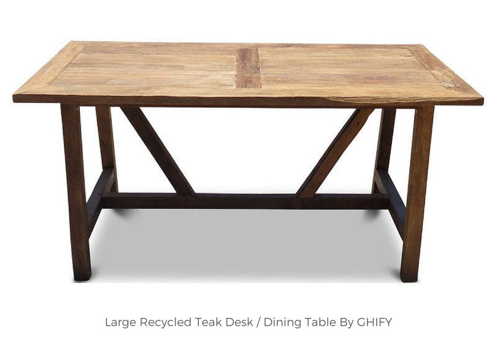 Large Recycled Teak Desk/Dining Table by Ghify