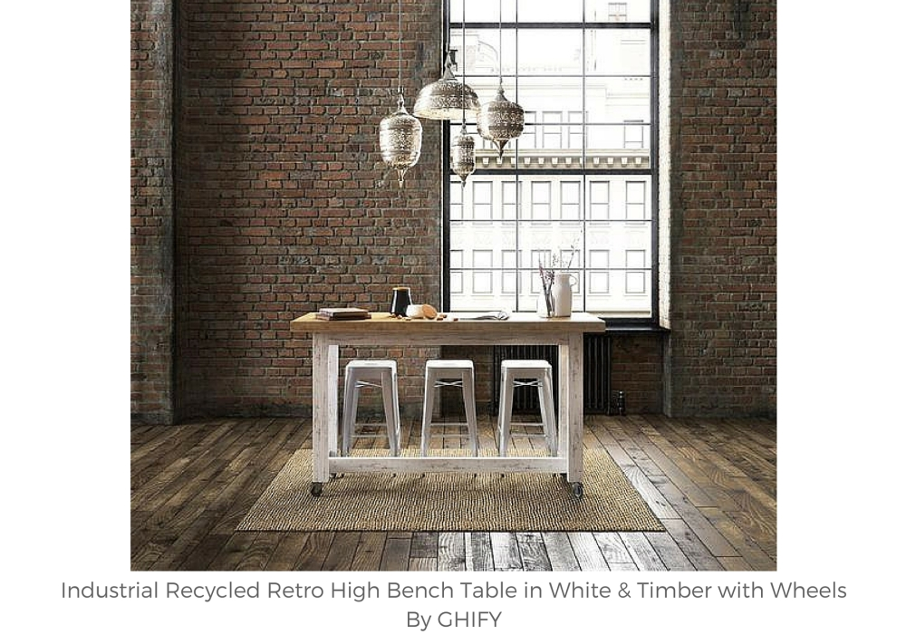 Industrial Recycled Retro High Bench Table in White & Timber with Wheels
