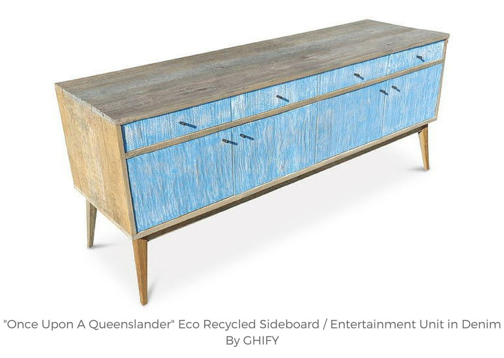 """Once Upon A Queenslander"" Eco Recycled Sideboard / Entertainment Unit in Denim by Ghify"