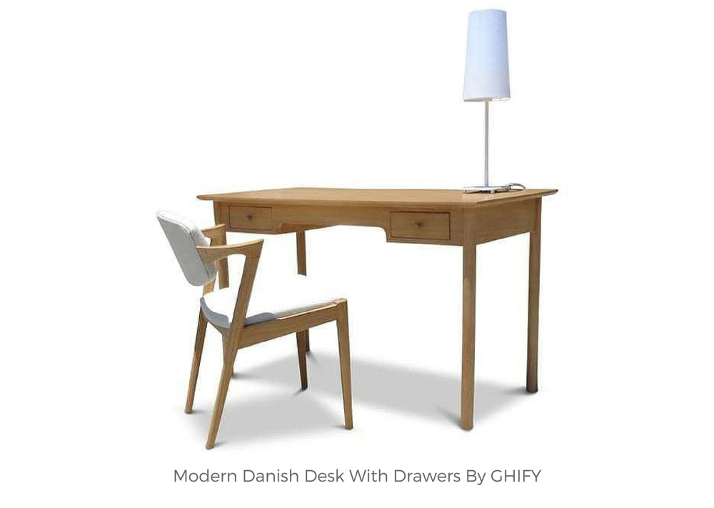 Modern Danish Desk With Drawers