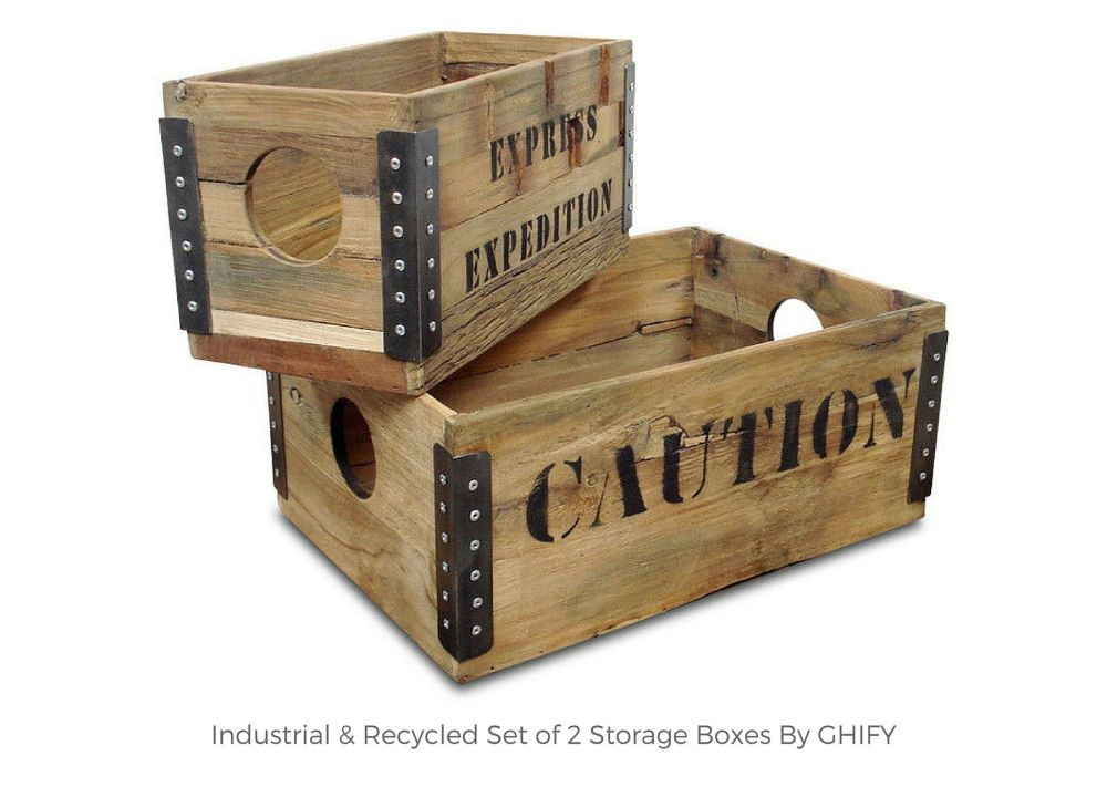 Industrial & Recycled Set of 2 Storage Boxes