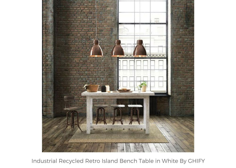 Industrial Recycled Retro Wooden Island Bench Table in White by Ghify
