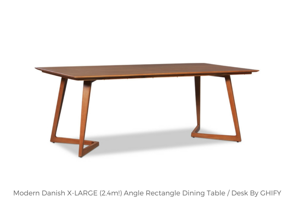 Modern Danish X-LARGE 2.4m Angle Rectangle Wooden Dining Table by Ghify