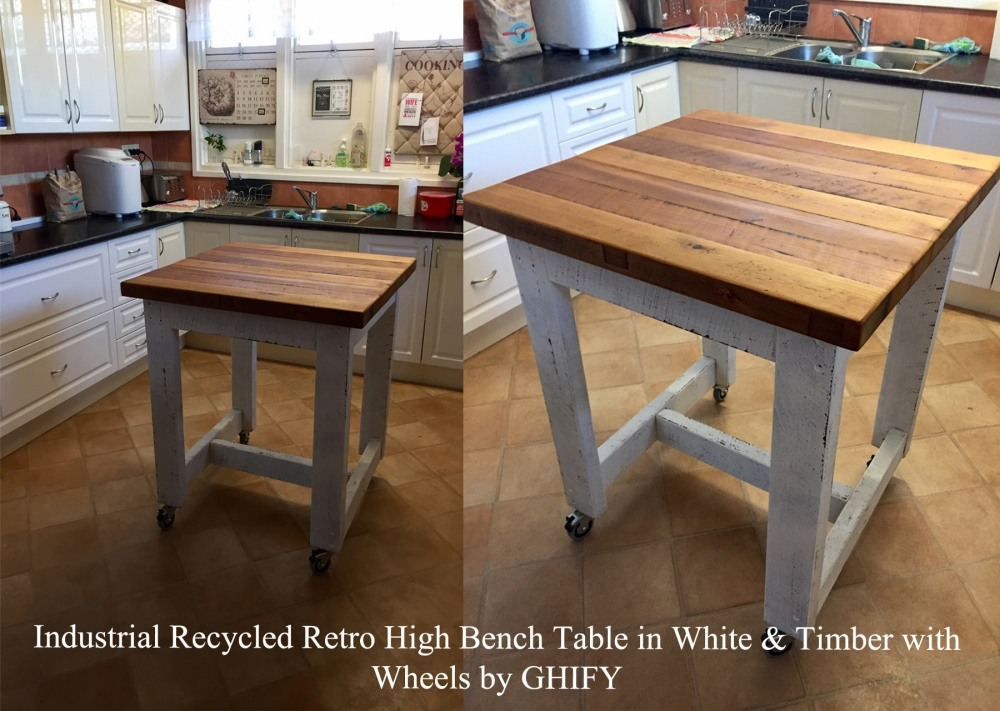 Industrial Recycled Retro High Bench Table in White & Timber with Wheels Custom Dimensions by Ghify