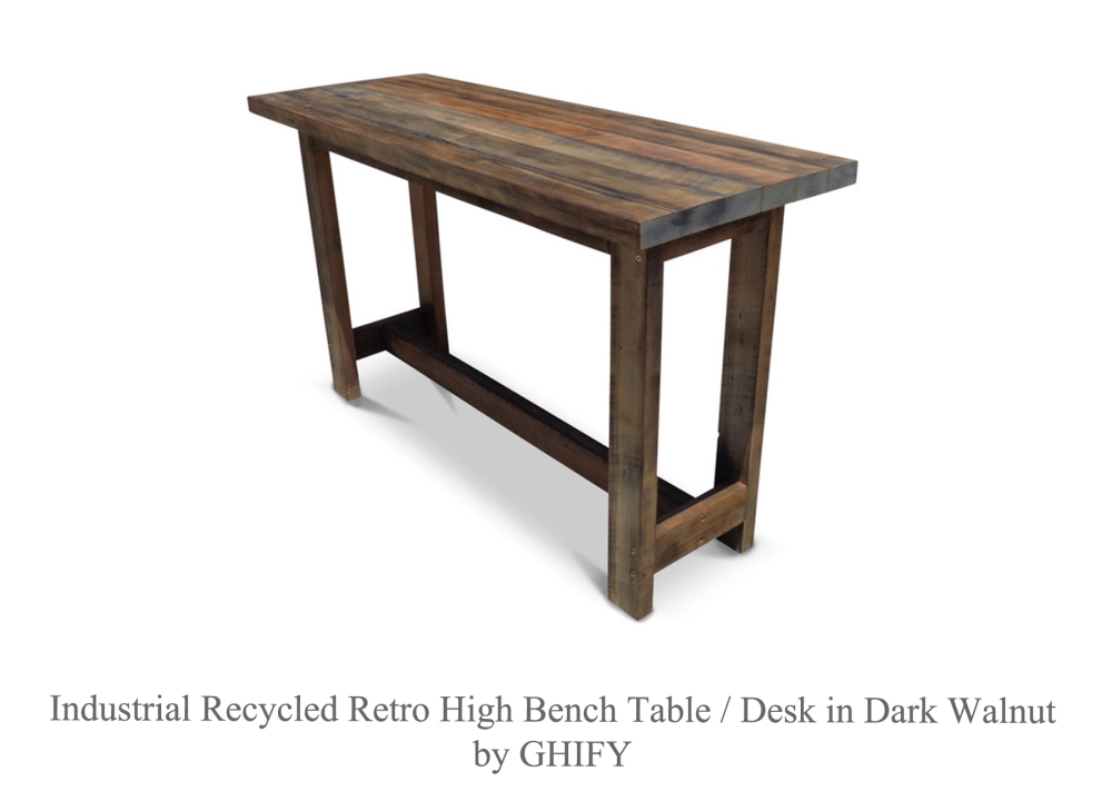 Industrial Recycled Retro Solid Timber Top High Bench Bar Table in Dark Walnut by Ghify