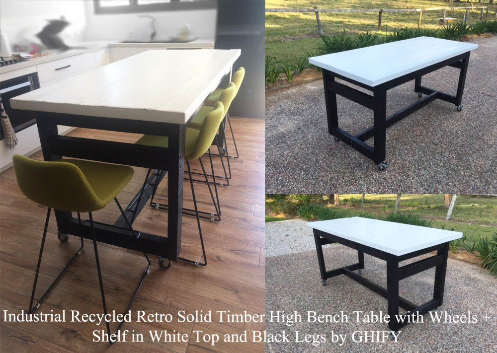 Custom Industrial Recycled Retro Solid Timber High Bench Table with Wheels + Shelf in White Top and Black Legs by Ghify