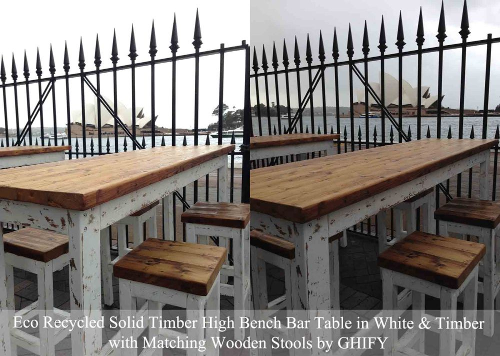 Eco Recycled Solid Timber High Bench Bar Table in White & Timber with Matching Wooden Stools