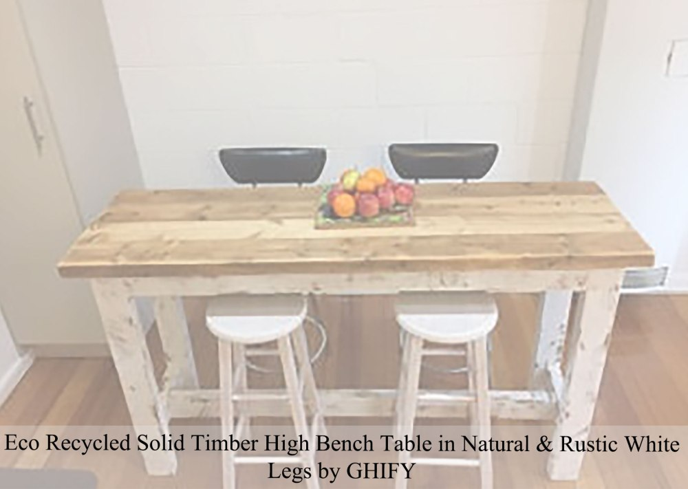 Eco Recycled Solid Timber High Bench Table in Natural + Rustic White Legs